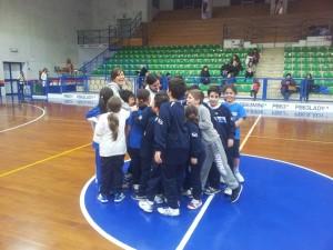 il gruppo Minibasket durante l'allenamento di oggi